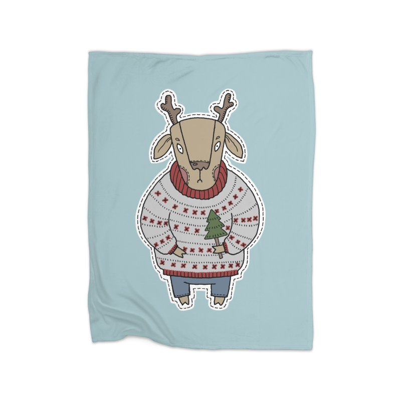 Christmas Deer Home Fleece Blanket Blanket by Crazy Pangolin's Artist Shop