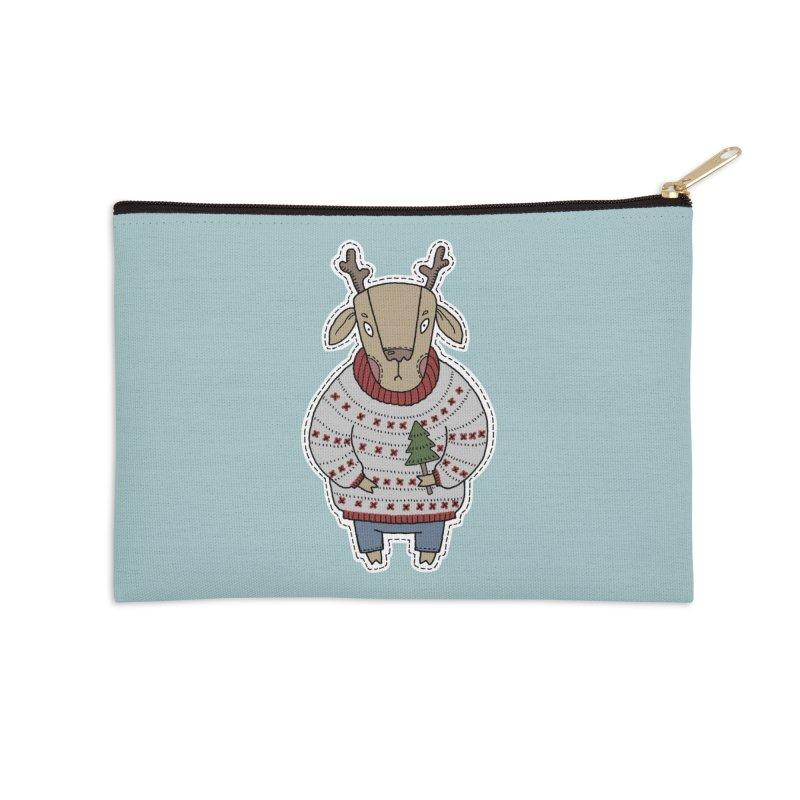 Christmas Deer Accessories Zip Pouch by Crazy Pangolin's Artist Shop