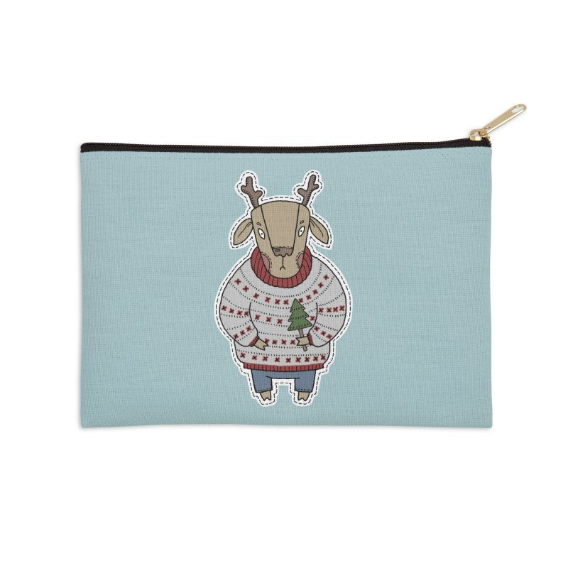 Christmas Deer Accessories Zip Pouch by Crazy Pangolin's Artist Shop