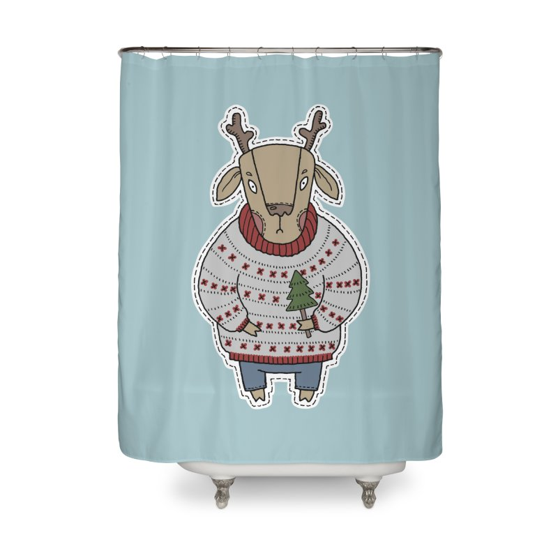 Christmas Deer Home Shower Curtain by Crazy Pangolin's Artist Shop