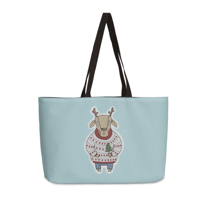 Christmas Deer Accessories Weekender Bag Bag by Crazy Pangolin's Artist Shop