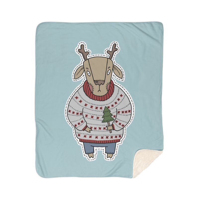Christmas Deer Home Sherpa Blanket Blanket by Crazy Pangolin's Artist Shop