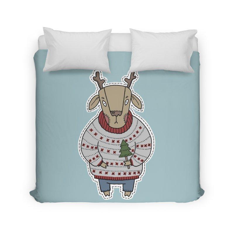 Christmas Deer Home Duvet by Crazy Pangolin's Artist Shop