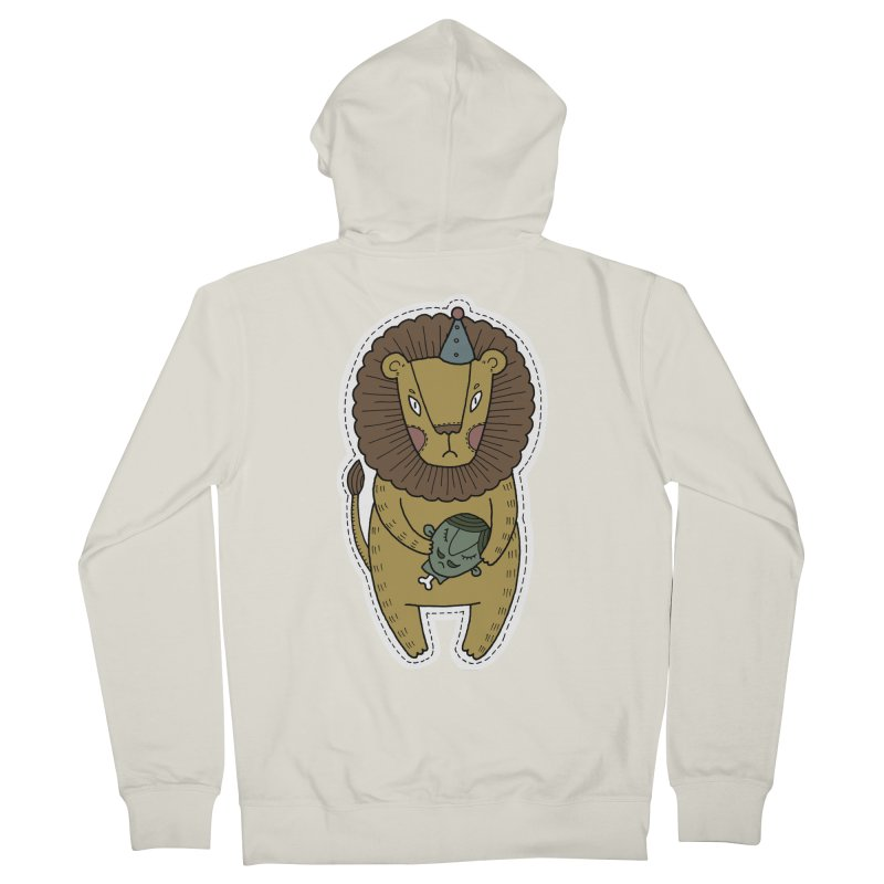Circus Lion Women's French Terry Zip-Up Hoody by Crazy Pangolin's Artist Shop