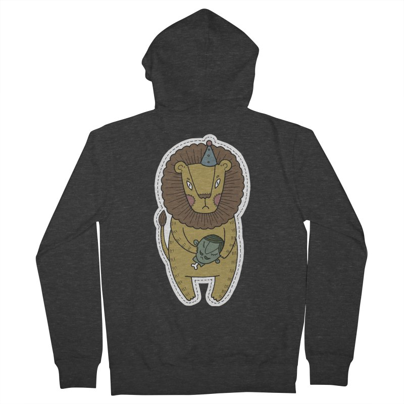 Circus Lion Men's French Terry Zip-Up Hoody by Crazy Pangolin's Artist Shop