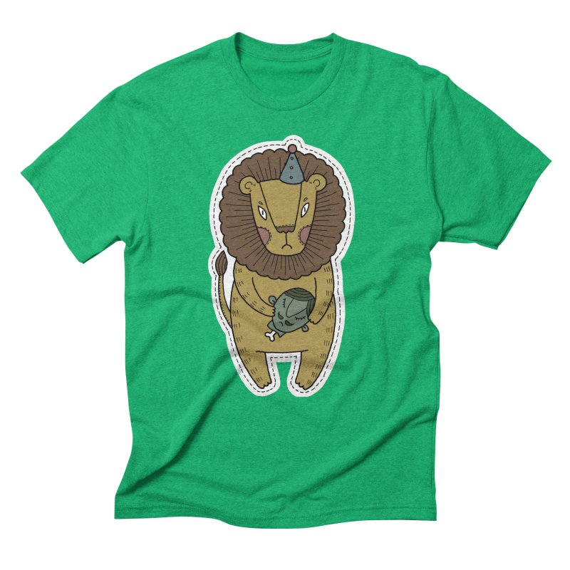 Circus Lion Men's Triblend T-Shirt by Crazy Pangolin's Artist Shop