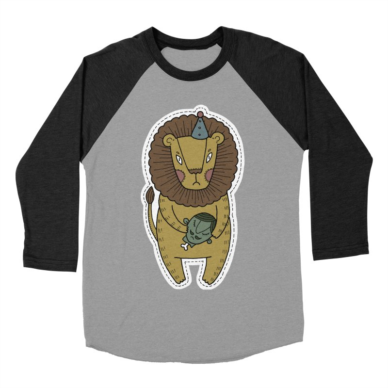 Circus Lion Men's Baseball Triblend Longsleeve T-Shirt by Crazy Pangolin's Artist Shop