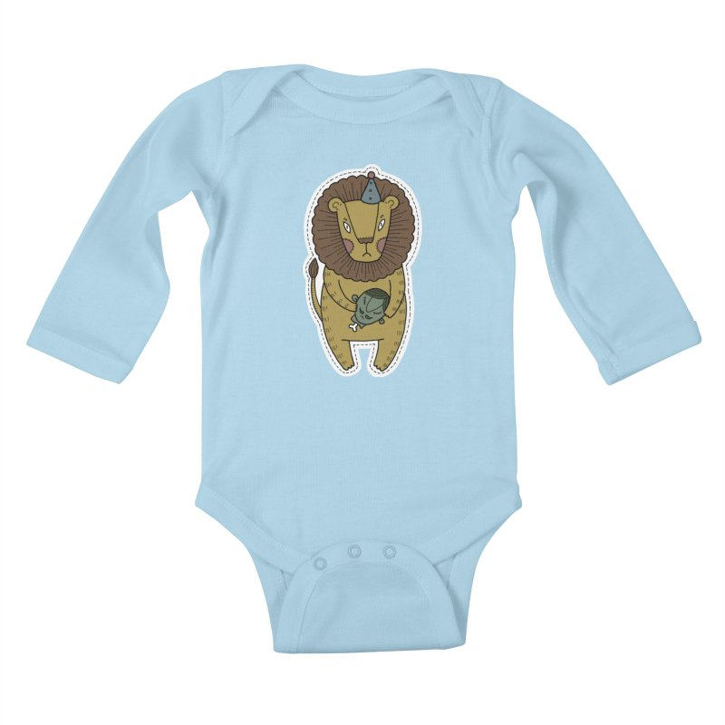 Circus Lion in Kids Baby Longsleeve Bodysuit Powder Blue by Crazy Pangolin's Artist Shop