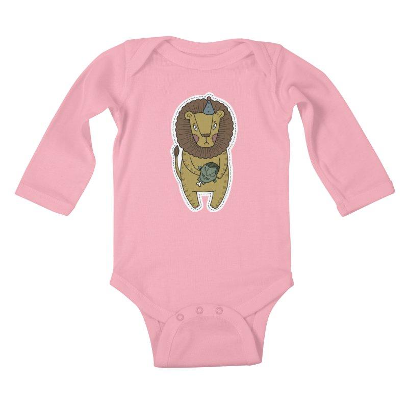 Circus Lion Kids Baby Longsleeve Bodysuit by Crazy Pangolin's Artist Shop
