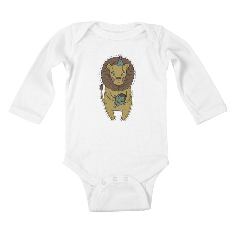 Circus Lion Kids Baby Longsleeve Bodysuit by Crazy Pangolin's Artist Shop