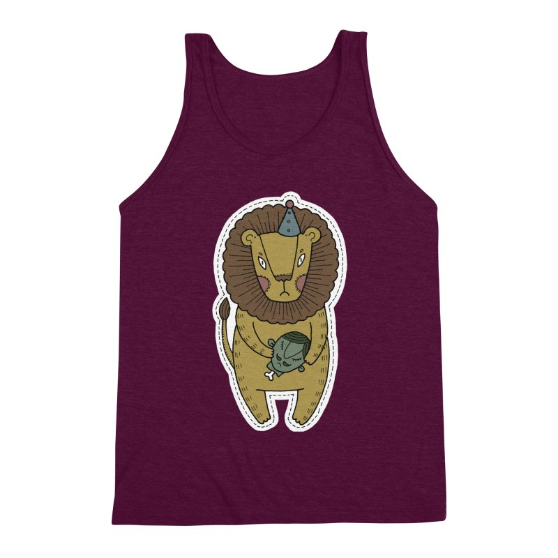 Circus Lion Men's Triblend Tank by Crazy Pangolin's Artist Shop