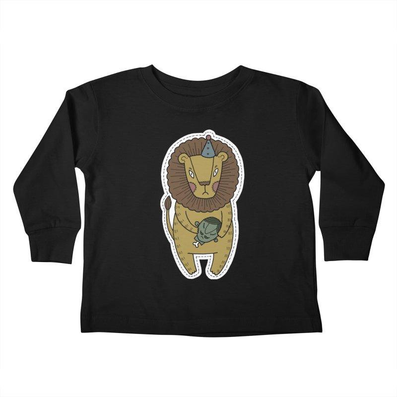 Circus Lion Kids Toddler Longsleeve T-Shirt by Crazy Pangolin's Artist Shop
