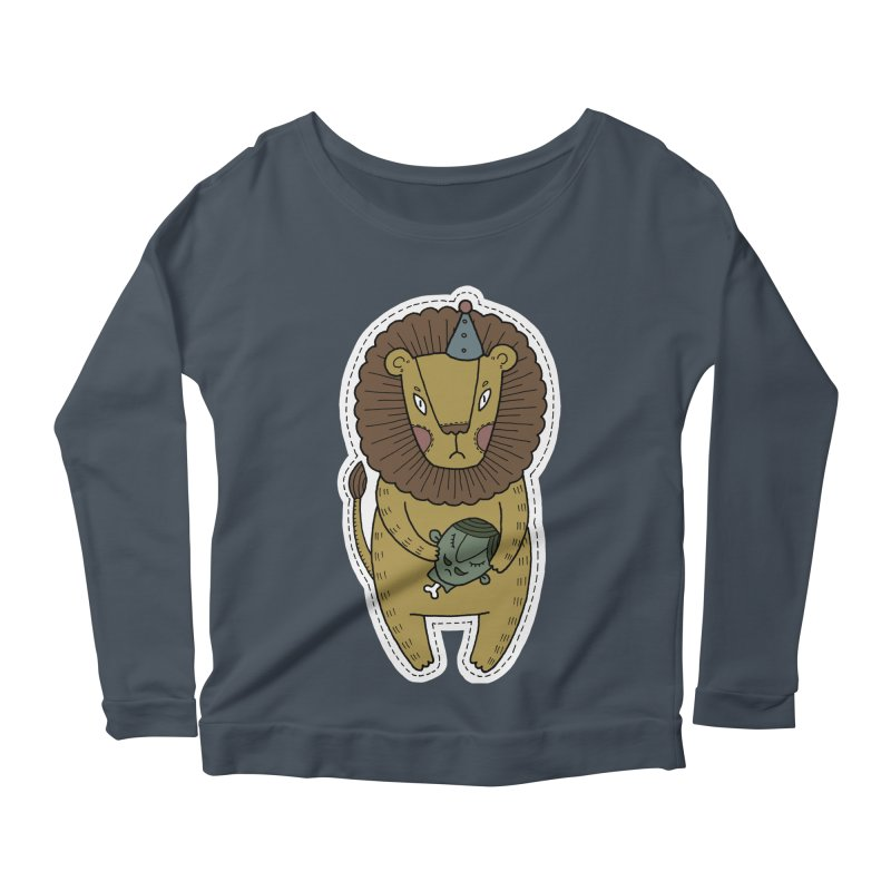 Circus Lion Women's Longsleeve Scoopneck  by Crazy Pangolin's Artist Shop