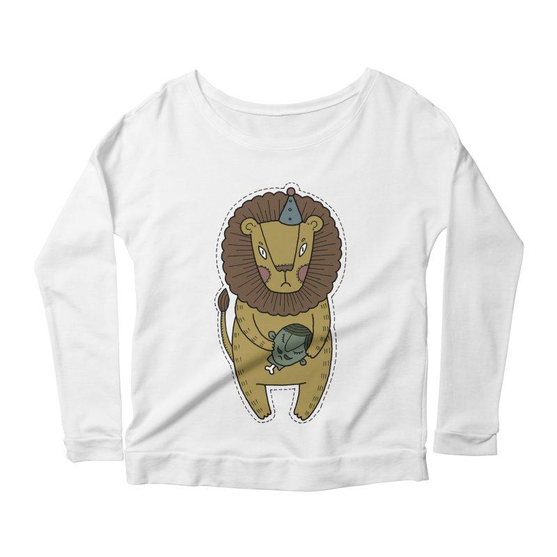 Circus Lion Women's Scoop Neck Longsleeve T-Shirt by Crazy Pangolin's Artist Shop