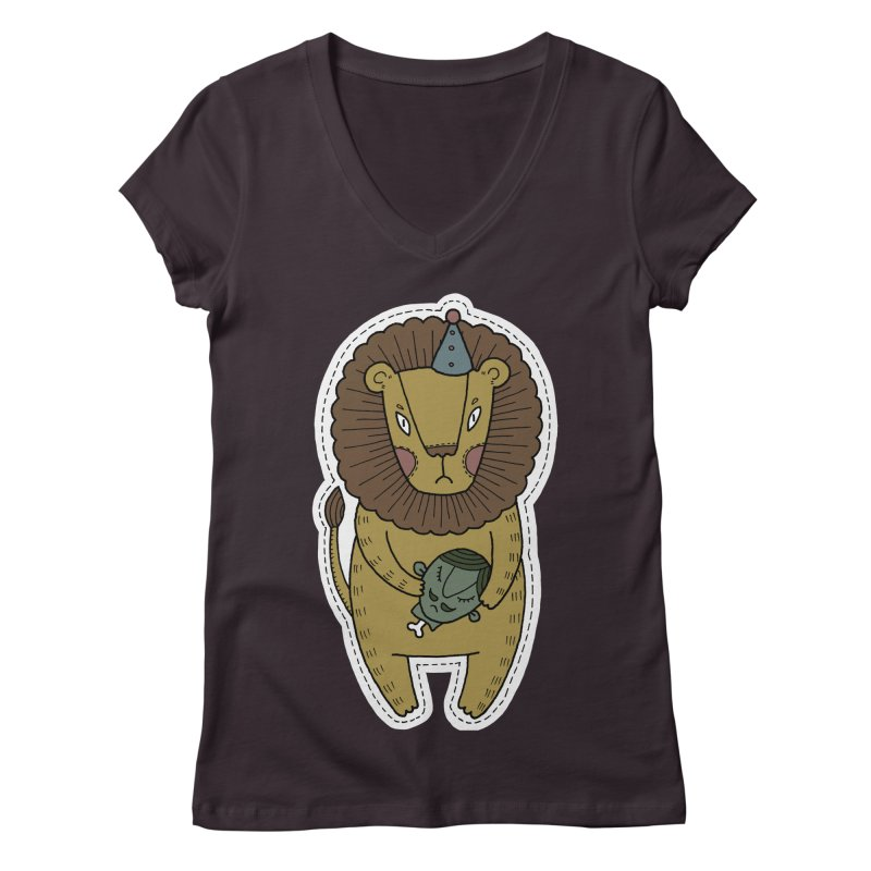Circus Lion Women's Regular V-Neck by Crazy Pangolin's Artist Shop