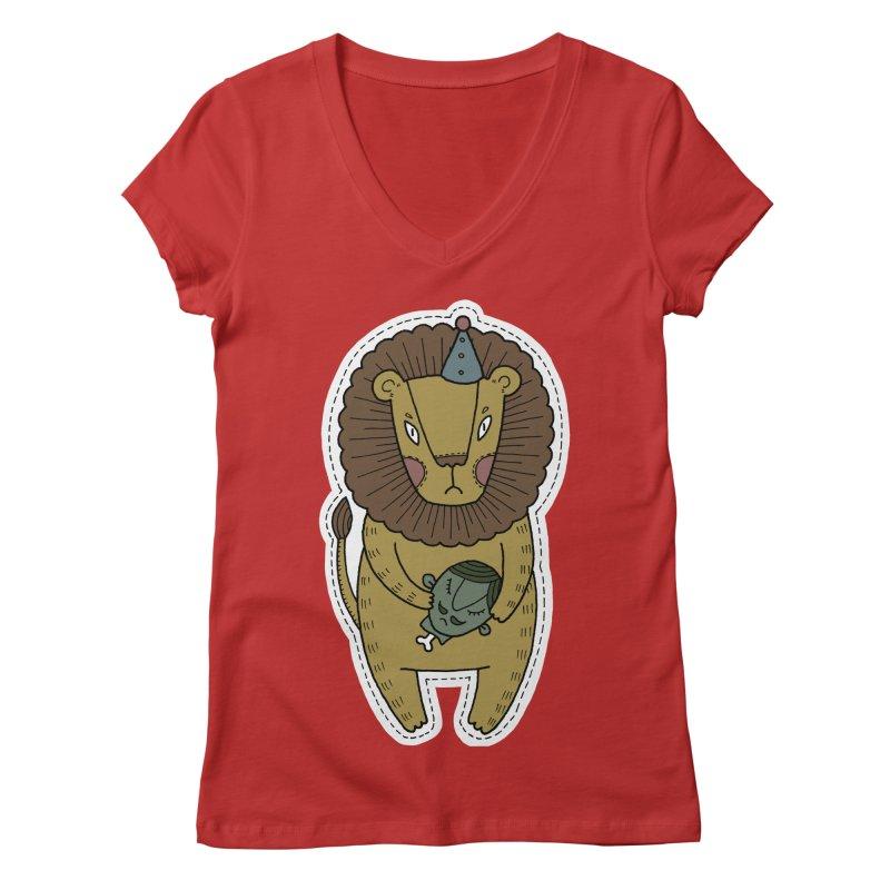 Circus Lion Women's Regular V-Neck by Crazy Pangolin's Artist Shop