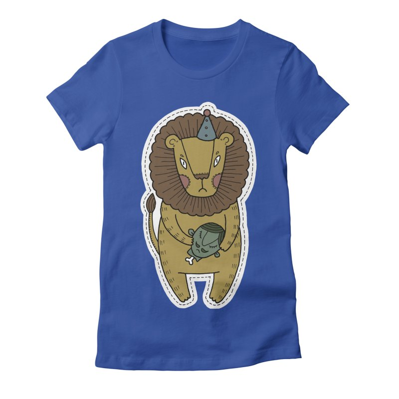 Circus Lion Women's Fitted T-Shirt by Crazy Pangolin's Artist Shop