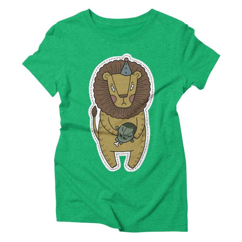 Circus Lion Women's Triblend T-Shirt by Crazy Pangolin's Artist Shop
