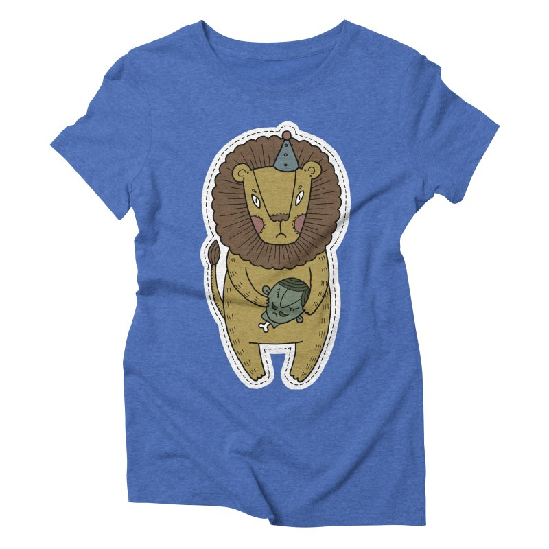 Circus Lion Women's Triblend T-Shirt by Crazy Pangolin's Artist Shop
