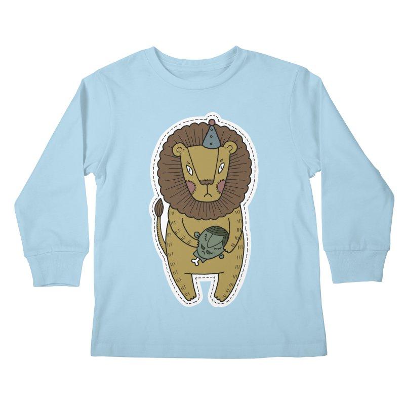 Circus Lion Kids Longsleeve T-Shirt by Crazy Pangolin's Artist Shop