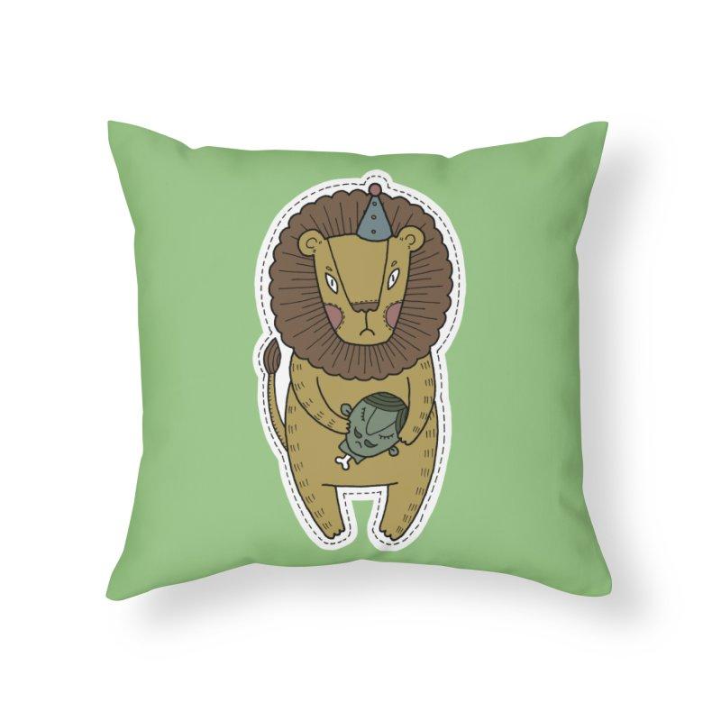 Circus Lion Home Throw Pillow by Crazy Pangolin's Artist Shop