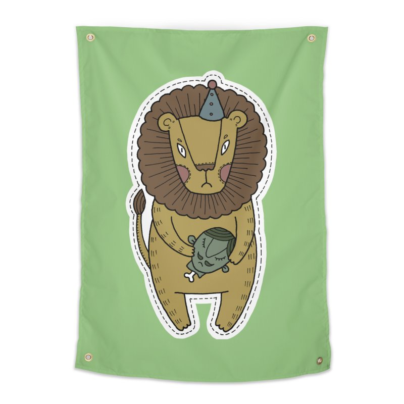 Circus Lion Home Tapestry by Crazy Pangolin's Artist Shop