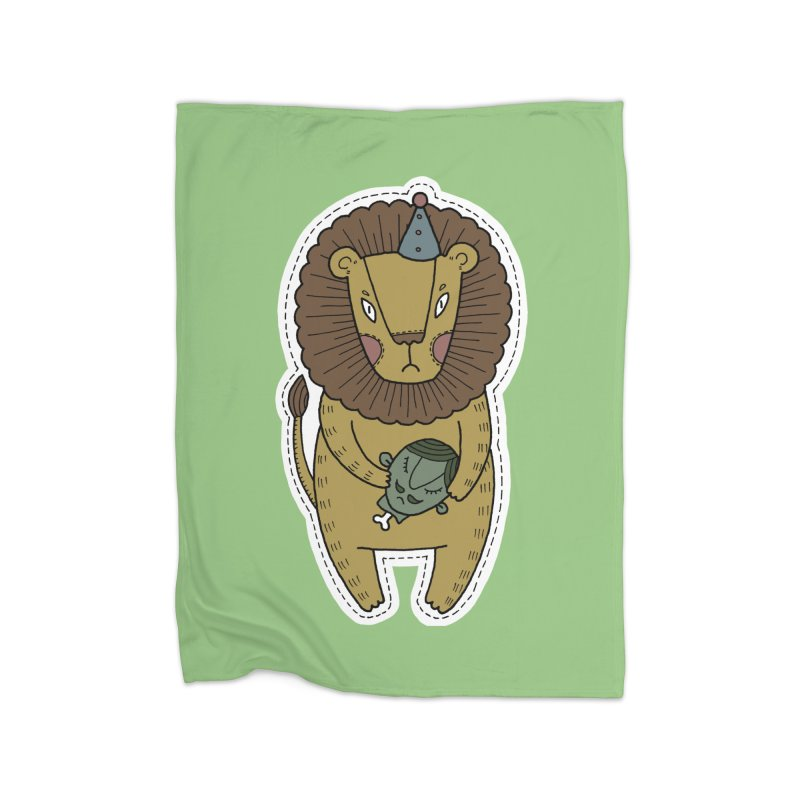 Circus Lion Home Fleece Blanket Blanket by Crazy Pangolin's Artist Shop