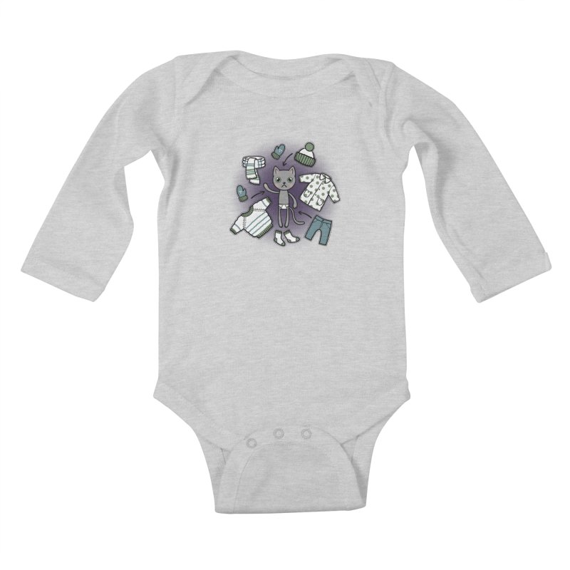 Hello winter... Kids Baby Longsleeve Bodysuit by Crazy Pangolin's Artist Shop