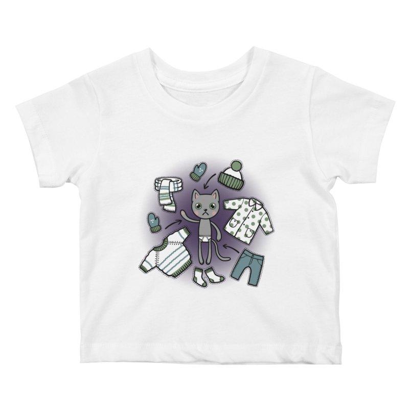 Hello winter... Kids Baby T-Shirt by Crazy Pangolin's Artist Shop