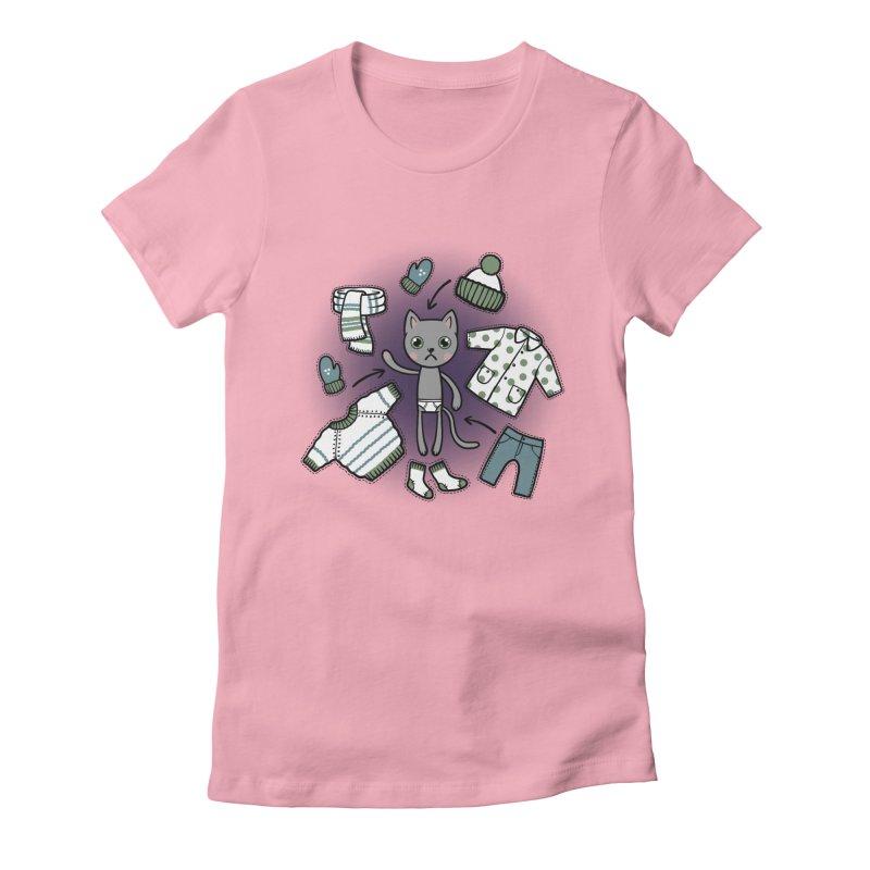 Hello winter... Women's Fitted T-Shirt by Crazy Pangolin's Artist Shop
