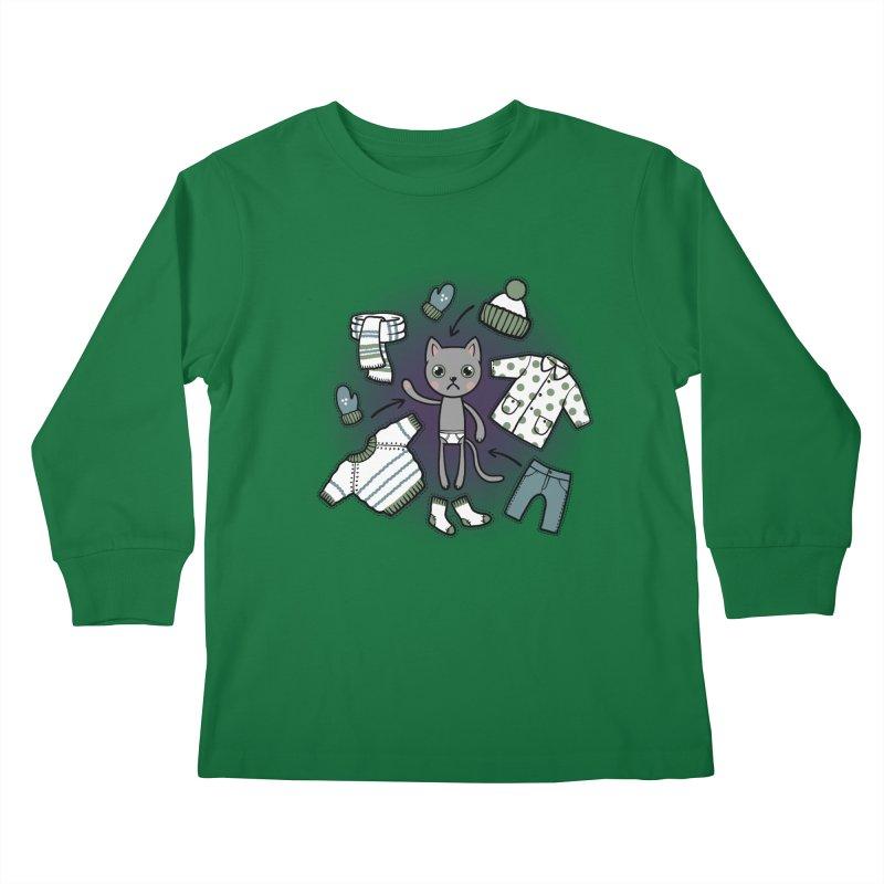 Hello winter... Kids Longsleeve T-Shirt by Crazy Pangolin's Artist Shop