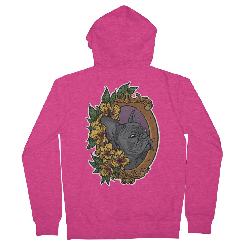 French Bulldog Women's French Terry Zip-Up Hoody by Crazy Pangolin's Artist Shop