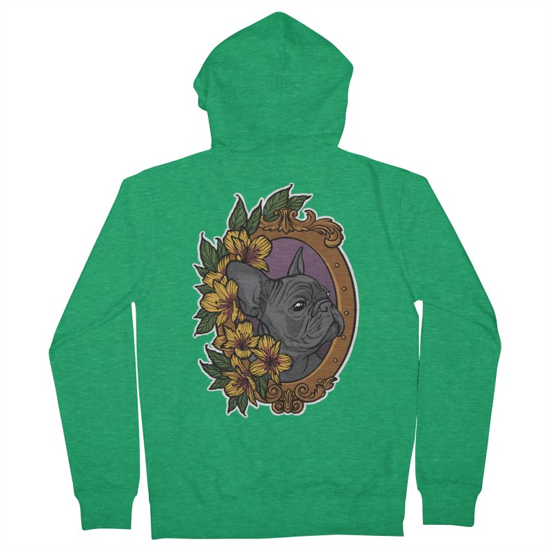 French Bulldog Men's French Terry Zip-Up Hoody by Crazy Pangolin's Artist Shop