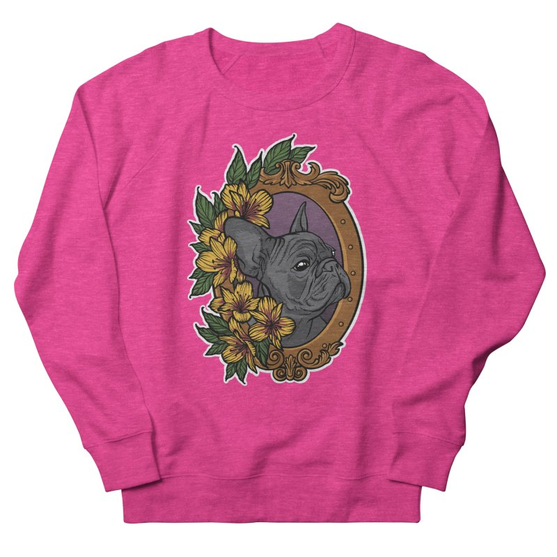 French Bulldog Women's French Terry Sweatshirt by Crazy Pangolin's Artist Shop