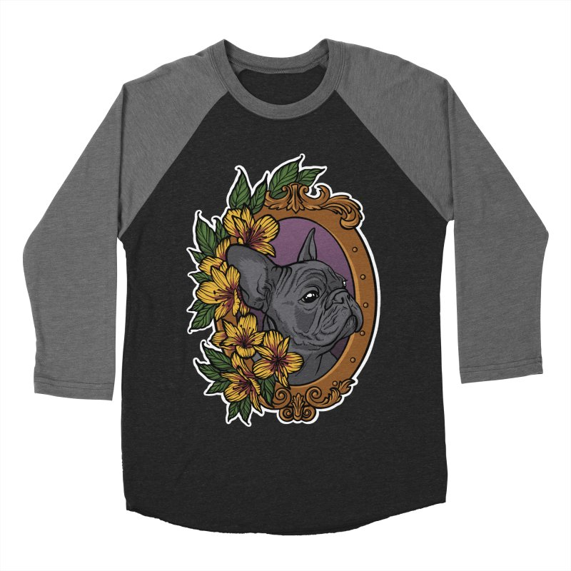 French Bulldog Men's Baseball Triblend Longsleeve T-Shirt by Crazy Pangolin's Artist Shop