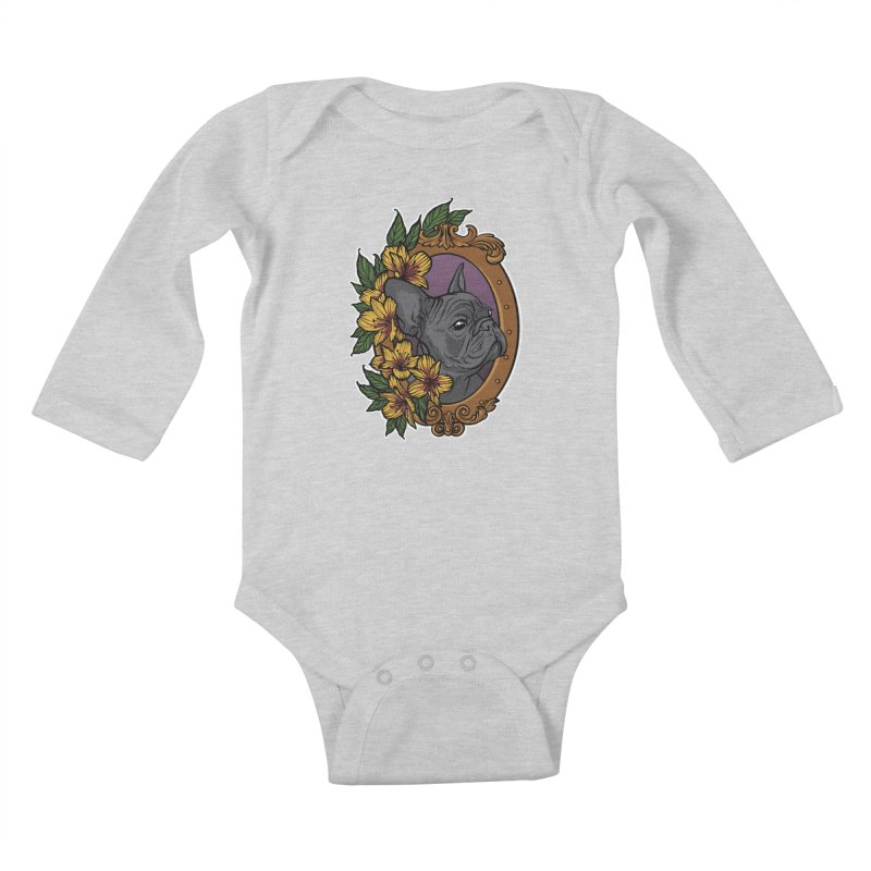 French Bulldog Kids Baby Longsleeve Bodysuit by Crazy Pangolin's Artist Shop