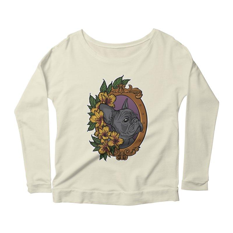 French Bulldog Women's Scoop Neck Longsleeve T-Shirt by Crazy Pangolin's Artist Shop