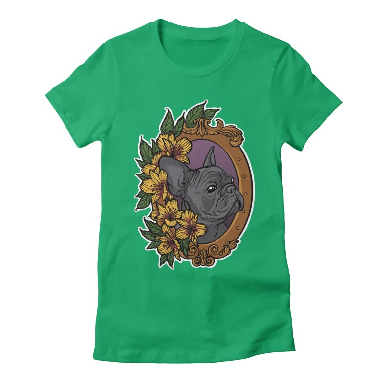 French Bulldog Women's Fitted T-Shirt by Crazy Pangolin's Artist Shop