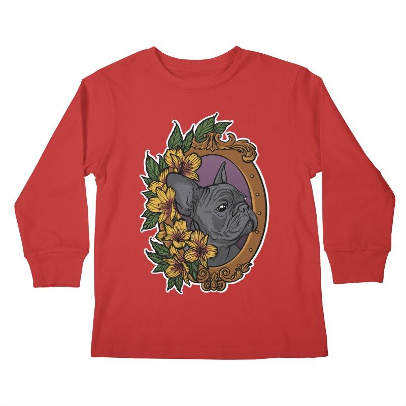 French Bulldog Kids Longsleeve T-Shirt by Crazy Pangolin's Artist Shop