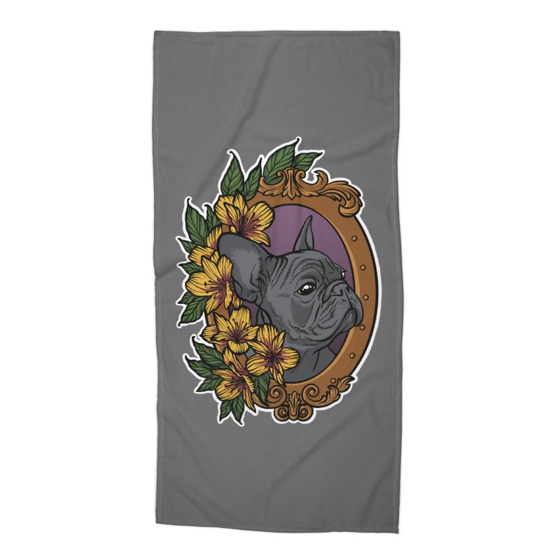 French Bulldog Accessories Beach Towel by Crazy Pangolin's Artist Shop