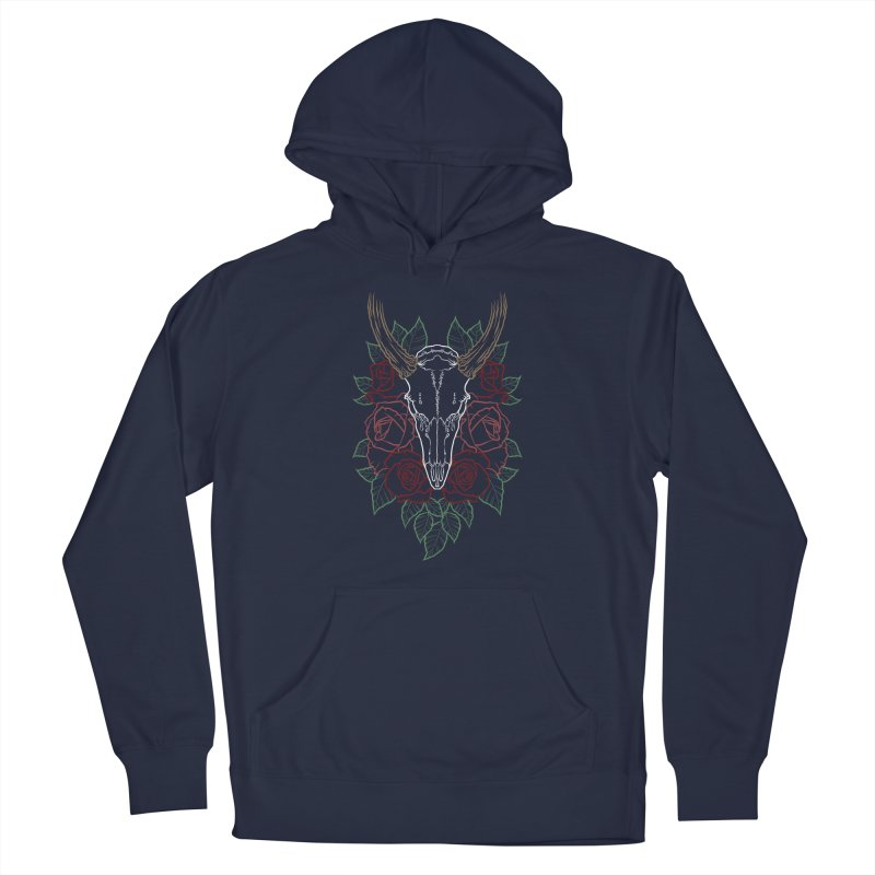 Deer skull Women's French Terry Pullover Hoody by Crazy Pangolin's Artist Shop