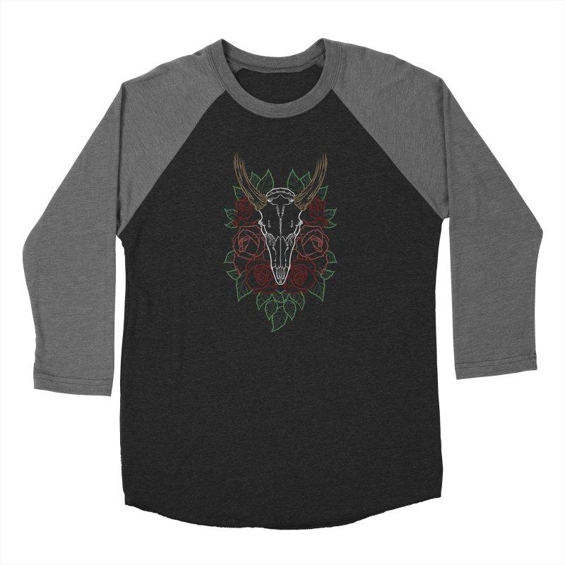 Deer skull Women's Baseball Triblend Longsleeve T-Shirt by Crazy Pangolin's Artist Shop