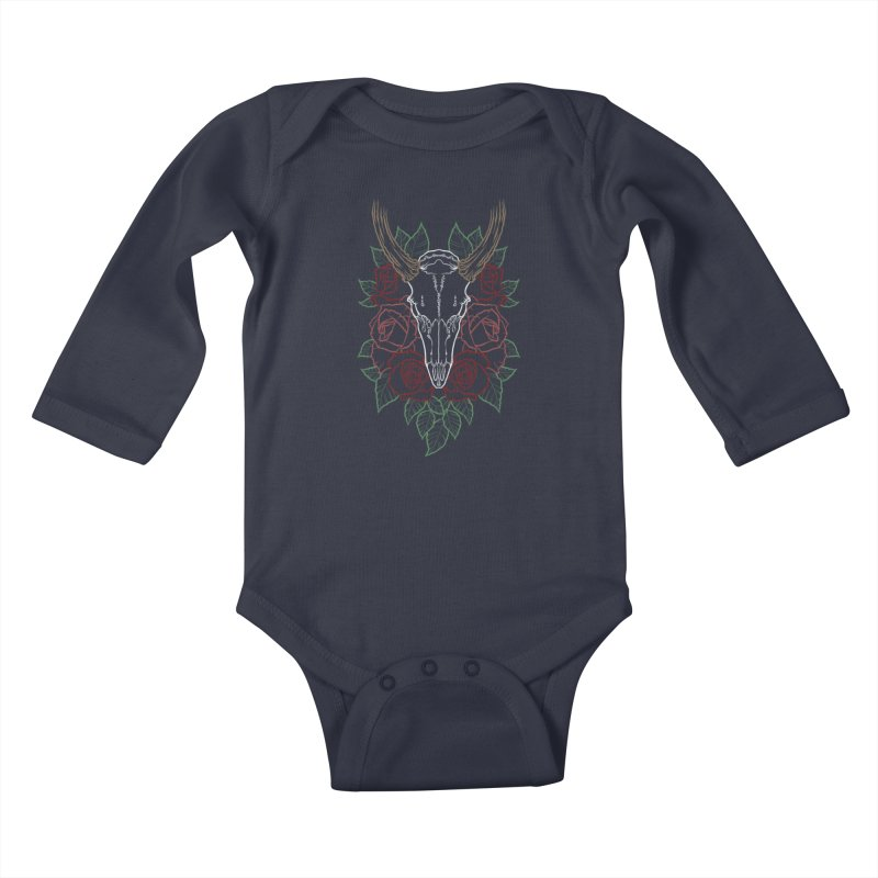 Deer skull Kids Baby Longsleeve Bodysuit by Crazy Pangolin's Artist Shop