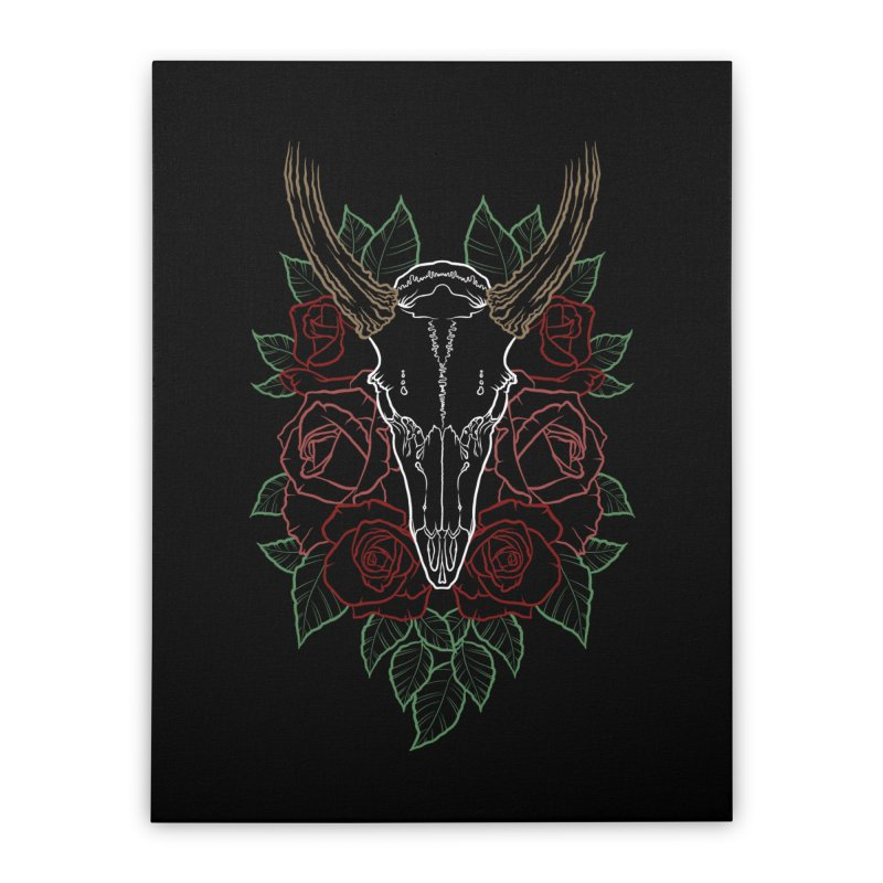 Deer skull Home Stretched Canvas by Crazy Pangolin's Artist Shop
