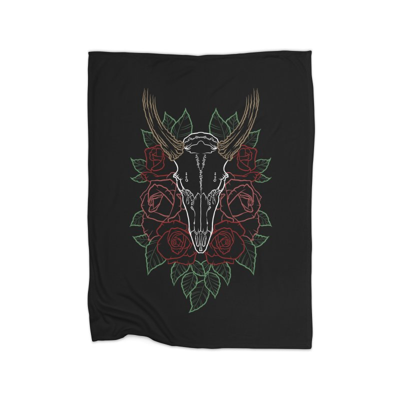 Deer skull Home Fleece Blanket Blanket by Crazy Pangolin's Artist Shop