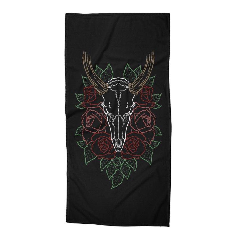 Deer skull Accessories Beach Towel by Crazy Pangolin's Artist Shop