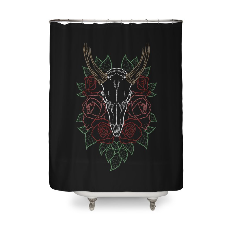 Deer skull Home Shower Curtain by Crazy Pangolin's Artist Shop
