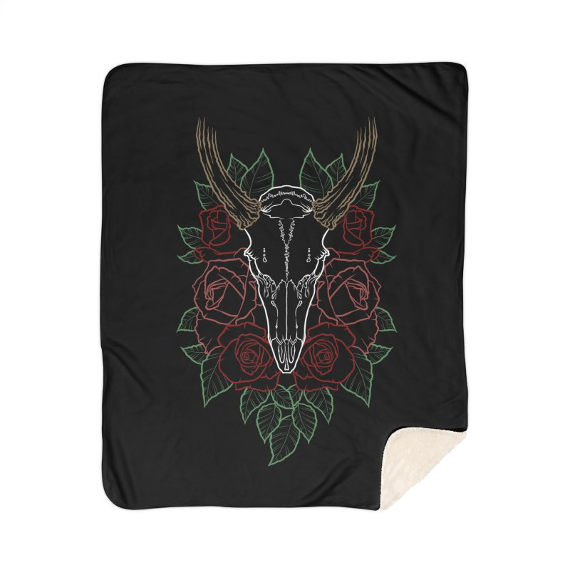 Deer skull Home Sherpa Blanket Blanket by Crazy Pangolin's Artist Shop