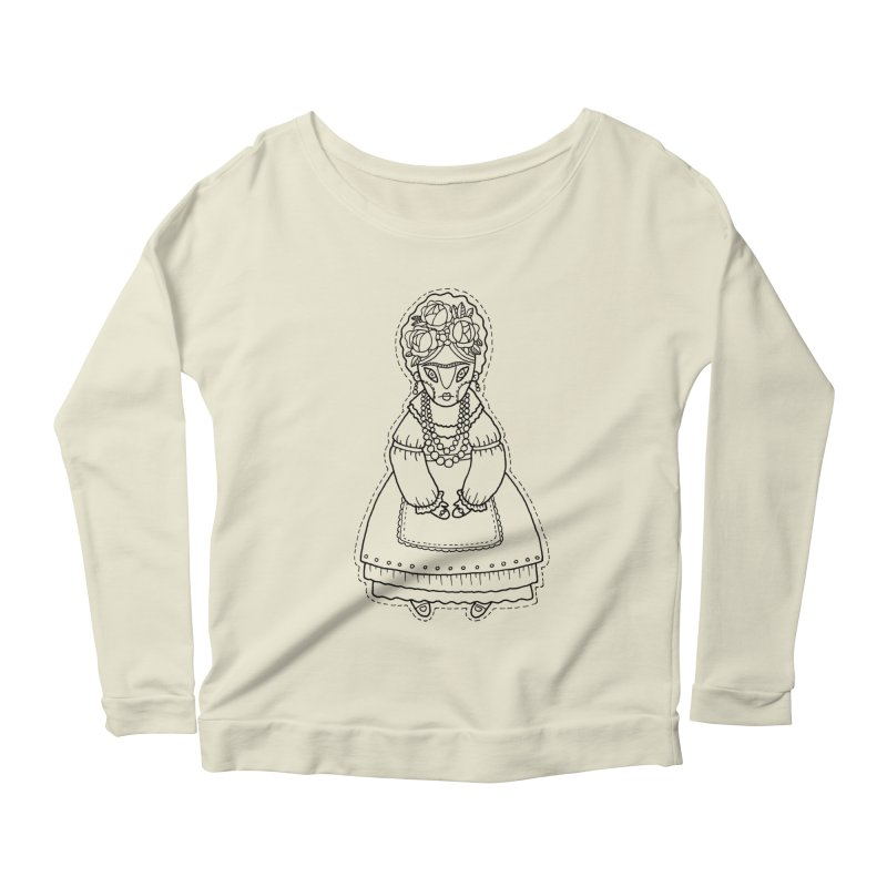 Frida Kahlo Women's Longsleeve Scoopneck  by Crazy Pangolin's Artist Shop
