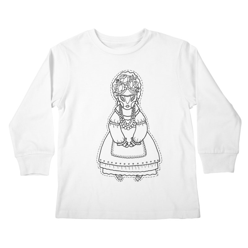 Frida Kahlo Kids Longsleeve T-Shirt by Crazy Pangolin's Artist Shop